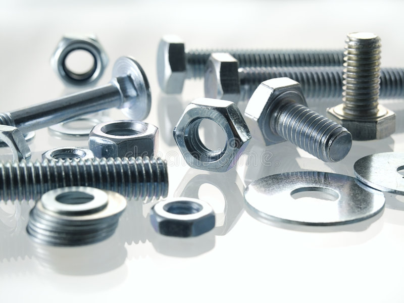 Screws and nuts stock image