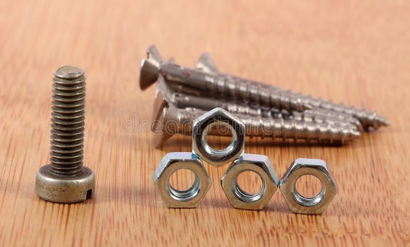 Screws and nuts royalty free stock photos