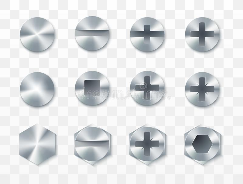 Screws, rivets and bolts set. Vector illustration isolated on transparent background.  royalty free illustration
