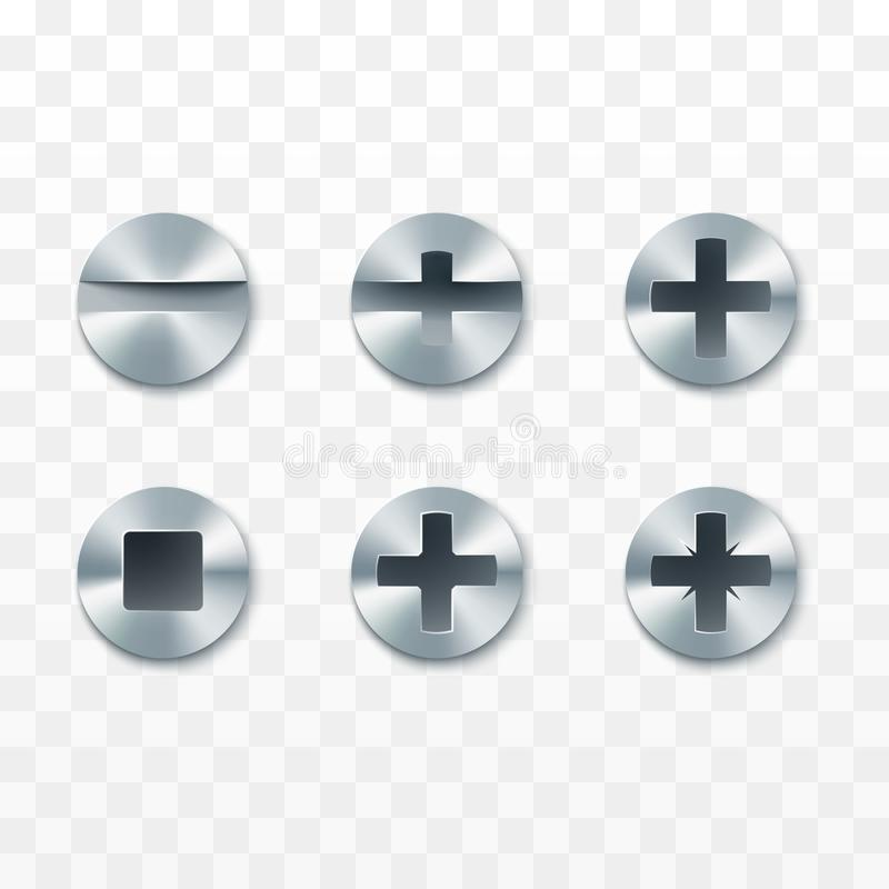 Screws, rivets and bolts set. Vector illustration isolated on transparent background.  stock illustration