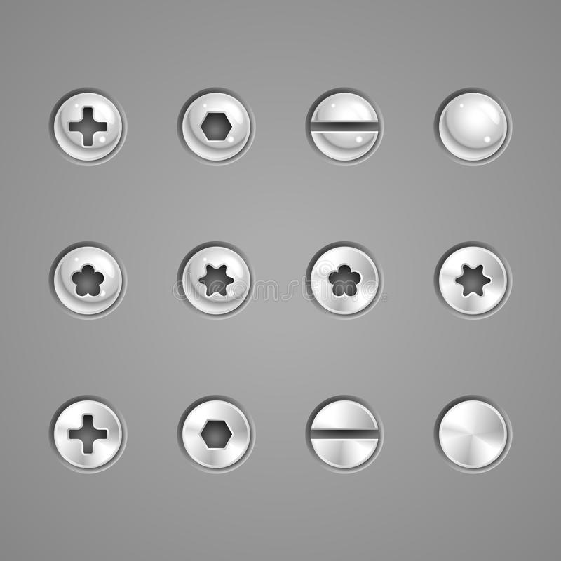 Screws and rivets. Illustration of screws and rivets on a metal plate stock illustration