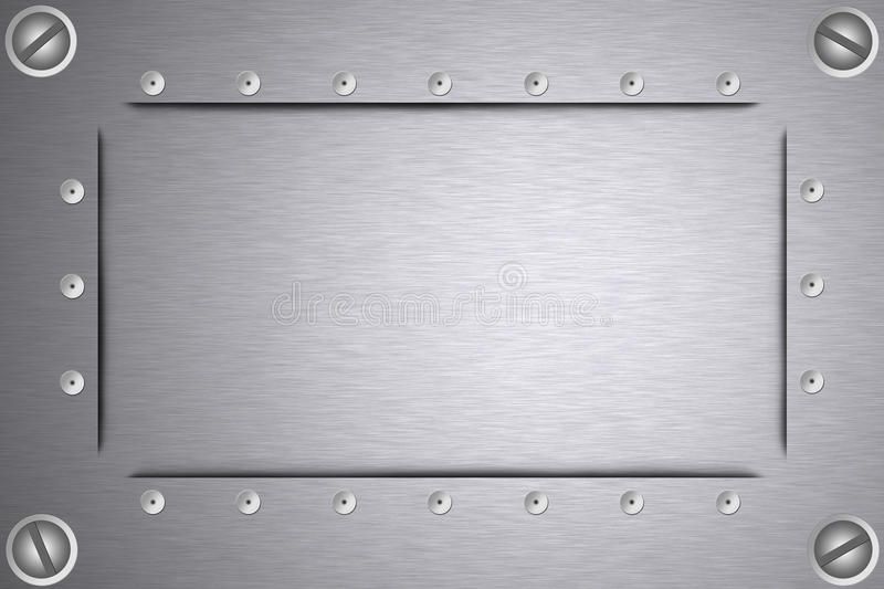 Screws and rivets in steel. Screws and rivets in brushed steel background. Copy space vector illustration