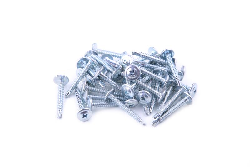 Screws still life large self tapping screws  on white background royalty free stock photos
