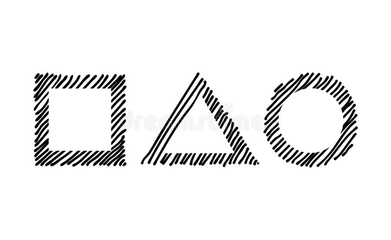 Scribble насиживая вдоль квадрата, треугольника и круга рамки оправы Символы нарисованные рукой Эскизы затеняли и насиживали знач иллюстрация вектора