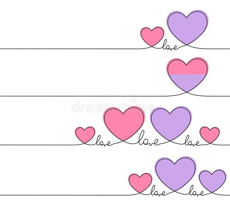 Scribble цвета сердца и любов красный розовый с тонкими непрерывными линиями Дизайн дня Валентайн иллюстрация штока