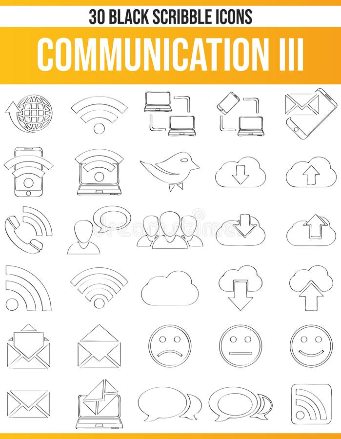 Scribble Black Icon Set Communication III. Black pictograms / icons on communication. This icon set is perfect for creative people and designers who need the royalty free illustration