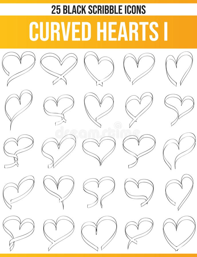 Scribble Black Icon Set Curved Hearts I royalty free illustration