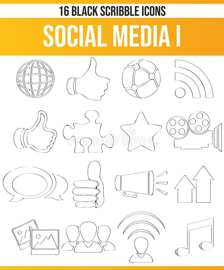 Scribble Black Icon Set Social Media I royalty free illustration