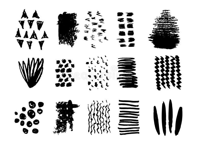 Scribble brush strokes set, vector logo design element. Simple textures for your design stock illustration