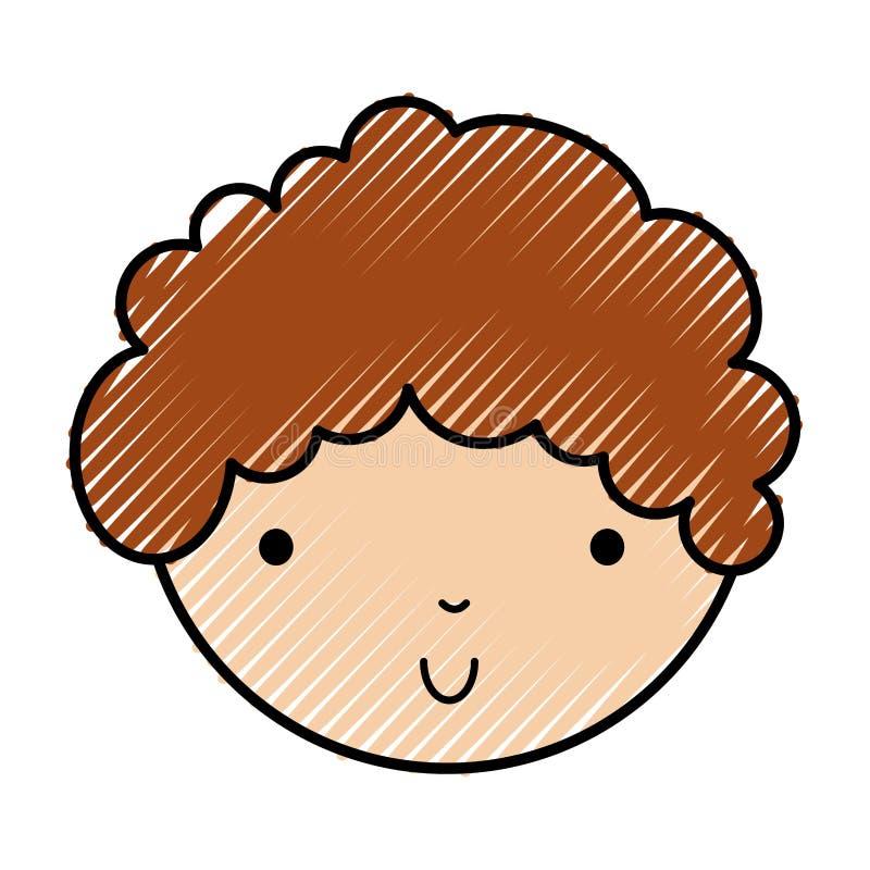 Scribble cute little boy face royalty free illustration