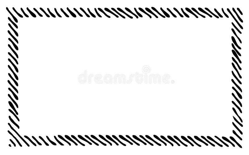 Scribble diagonal hatching along the rim frame rectangle. Hand drawn symbols. Sketches shaded and hatched badges and stroke shapes. Monochrome vector design vector illustration