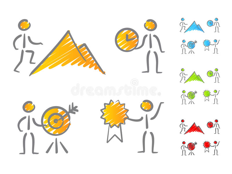 Scribble dos ícones das realizações dos povos ilustração stock
