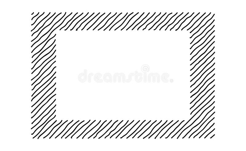 Scribble hatching along the rim frame rectangle. Hand drawn symbols. Sketches shaded and hatched badges and stroke shapes. Monochrome vector design elements stock illustration