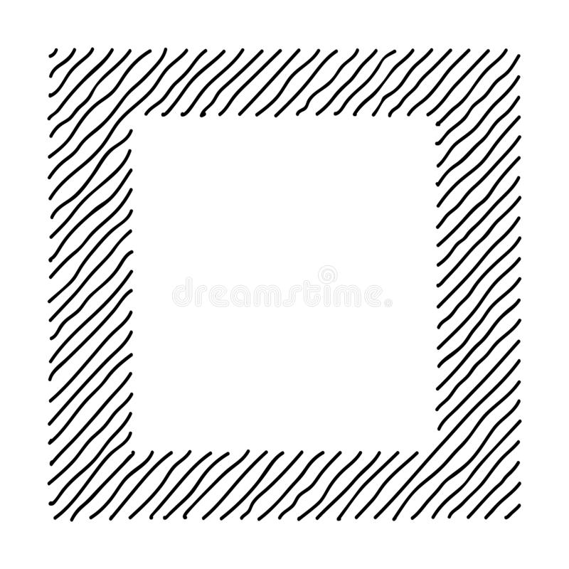 Scribble hatching along the rim frame square. Hand drawn symbols. Sketches shaded and hatched badges and stroke shapes. Monochrome. Vector design elements stock illustration