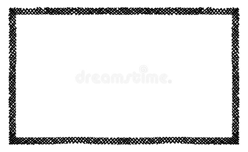 Scribble hatching criss cross along the rim frame rectangle. Hand drawn symbols. Sketches shaded and hatched badges and stroke. Shapes. Monochrome vector design royalty free illustration