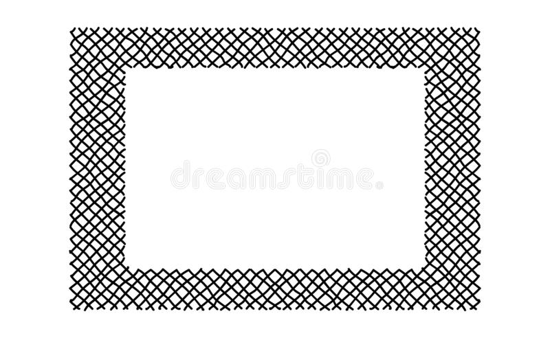 Scribble hatching criss cross along the rim frame rectangle. Hand drawn symbols. Sketches shaded and hatched badges and stroke. Shapes. Monochrome vector design stock illustration