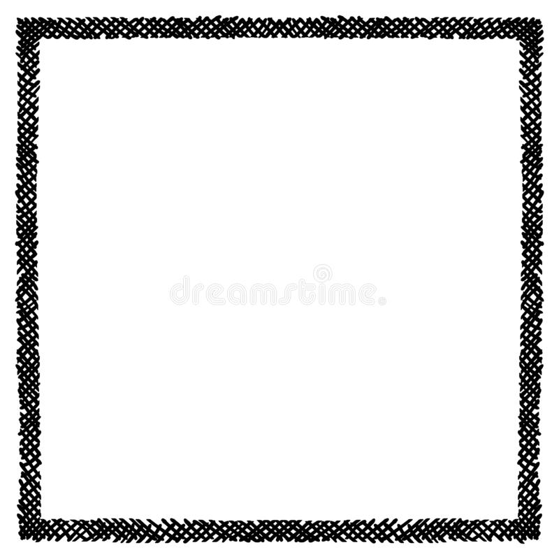 Scribble hatching criss cross along the rim frame square. Hand drawn symbols. Sketches shaded and hatched badges and stroke shapes. Monochrome vector design royalty free illustration