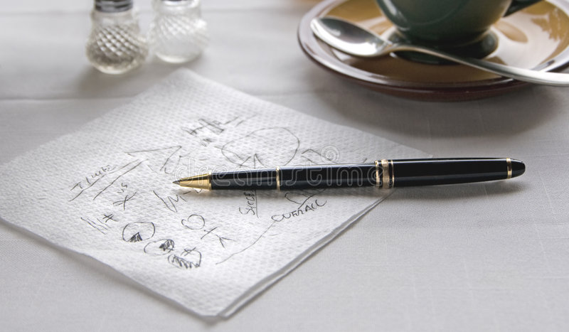 Download Scribble On Napkin At Table With Pen Stock Image - Image: 5310409