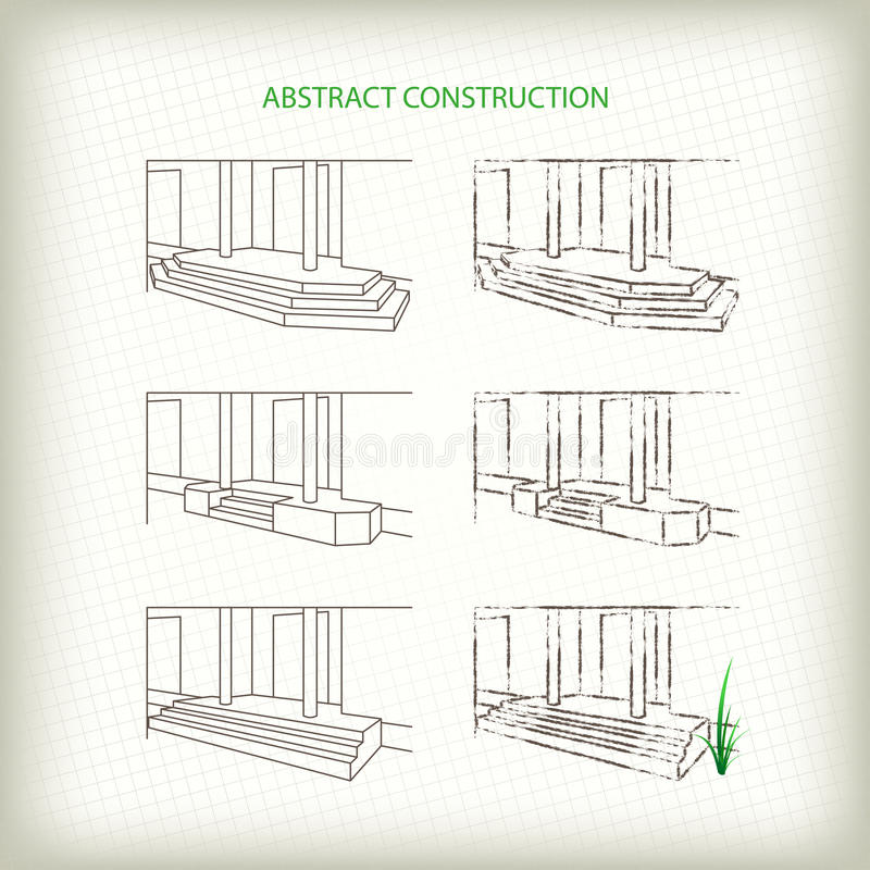 Scribble and Sketch Vector Stoops. Drawn Pencil and Outline Entrances of House stock illustration