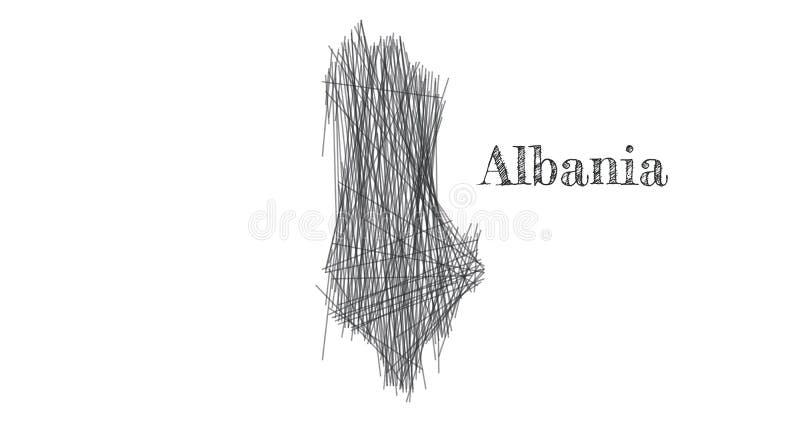 Scribble skissar av den Albanien översikten och landsnamn på vit bakgrund Symbol för din logo för webbplatsdesignöversikt klottra vektor illustrationer