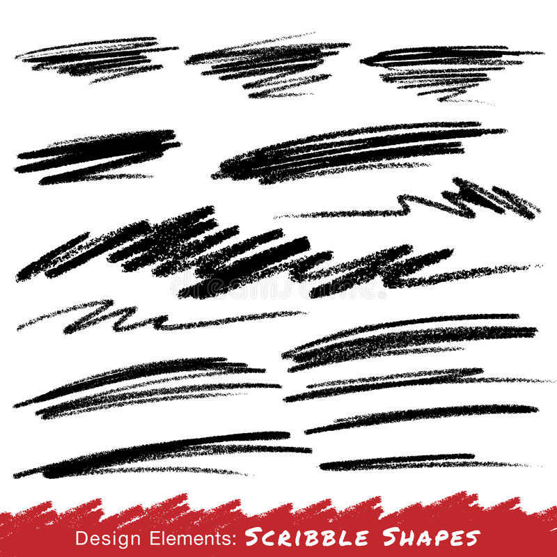 Scribble Smears Hand Drawn in Pencil vector illustration