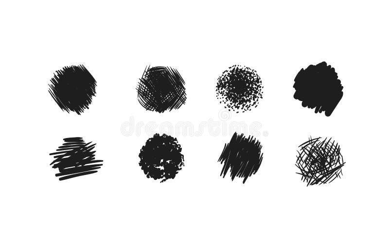 Scribble smears set vector illustration