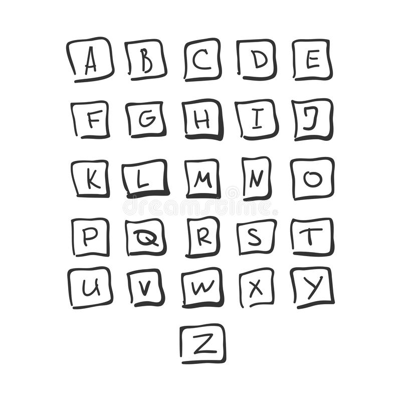 Scribble Square Font Hand Drawn Alphabet Black stock illustration