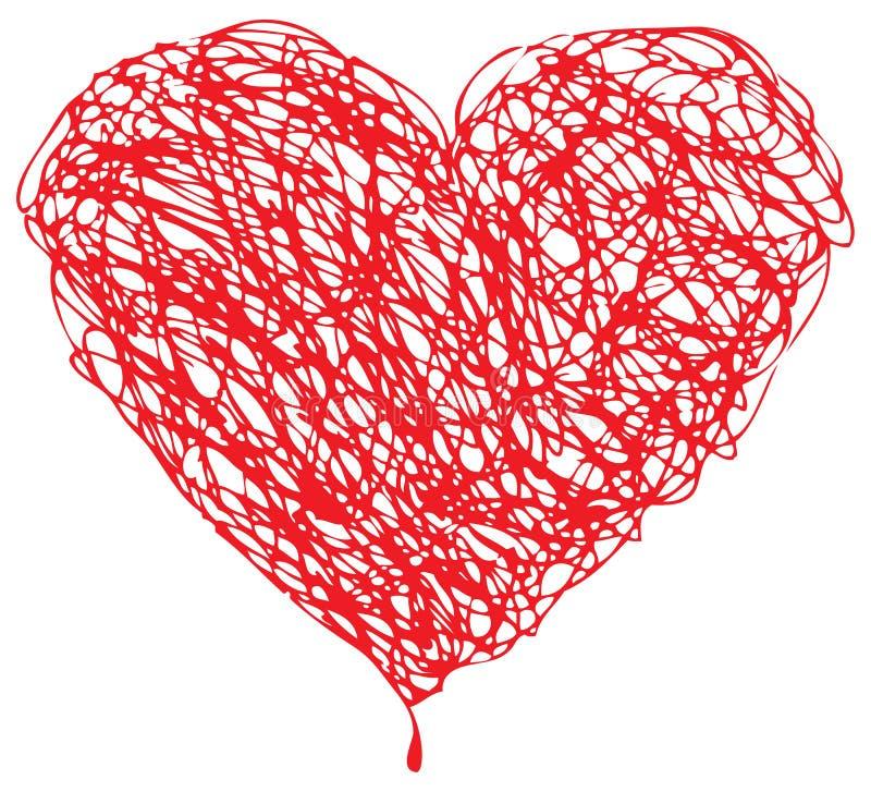 Scribble vermelho do coração ilustração do vetor