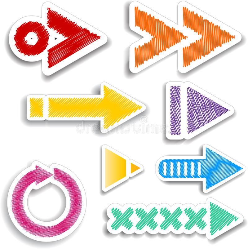 Scribbled arrow designs stock illustration