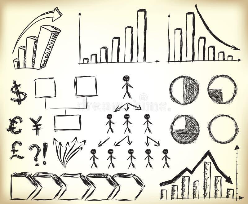 Scribbled Business elements stock illustration