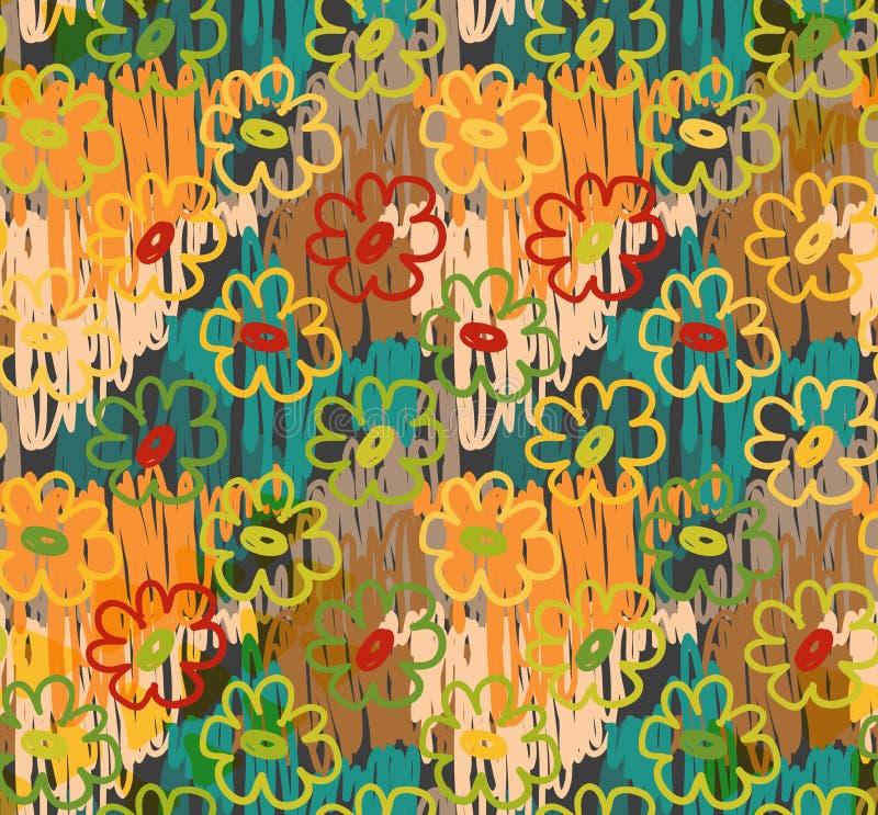 Scribbles конспекта с апельсином на всем цветки иллюстрация вектора