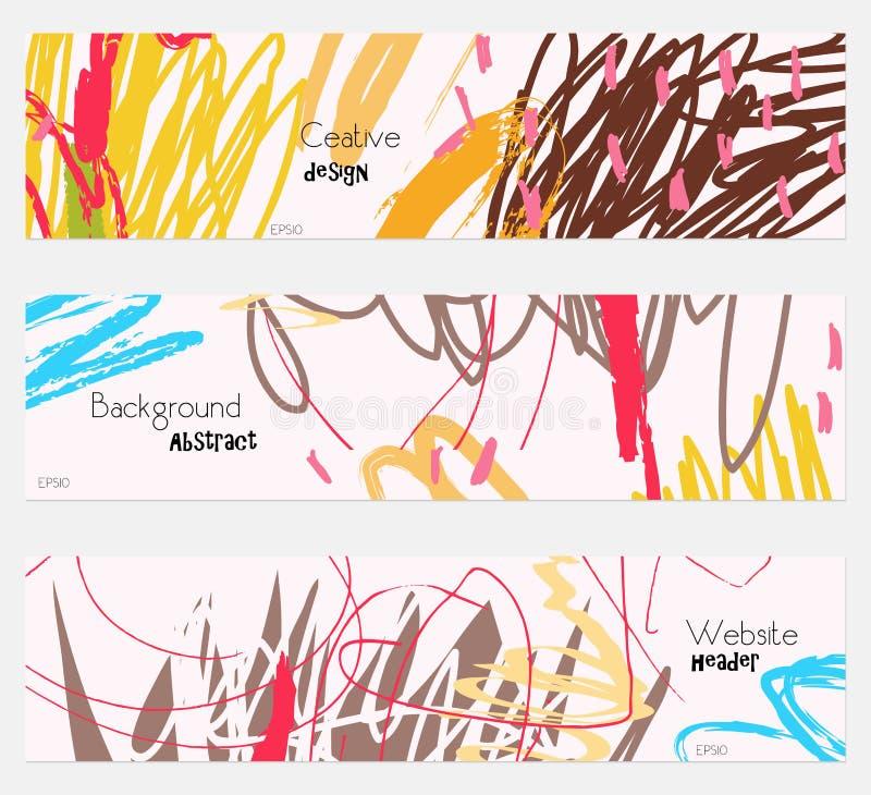 Scribbles отметят doodles коричневеют на cream комплекте знамени иллюстрация вектора