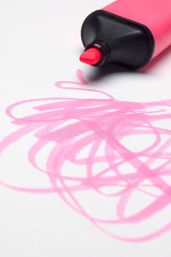 Scribbles cor-de-rosa do Highlighter foto de stock royalty free