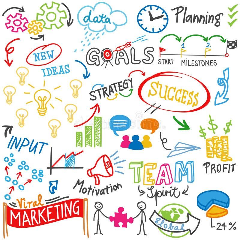 Scribbles doodles идеи стратегии успеха в бизнесе иллюстрация вектора
