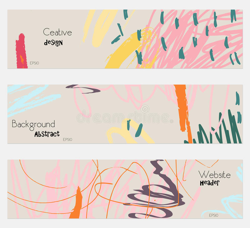 Scribbles marks doodles pink gray banner set stock illustration