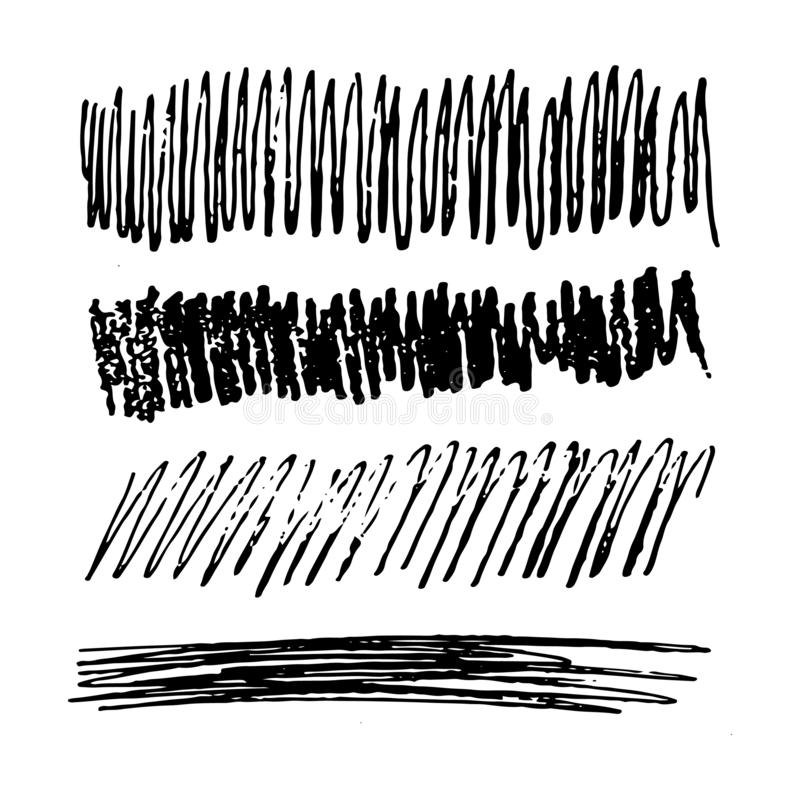 Hand drawn Pencil Scribble Rectangles. Set of four Sketch Scribble Smear Rectangles. Hand drawn Pencil Scribble. Vector illustration royalty free illustration