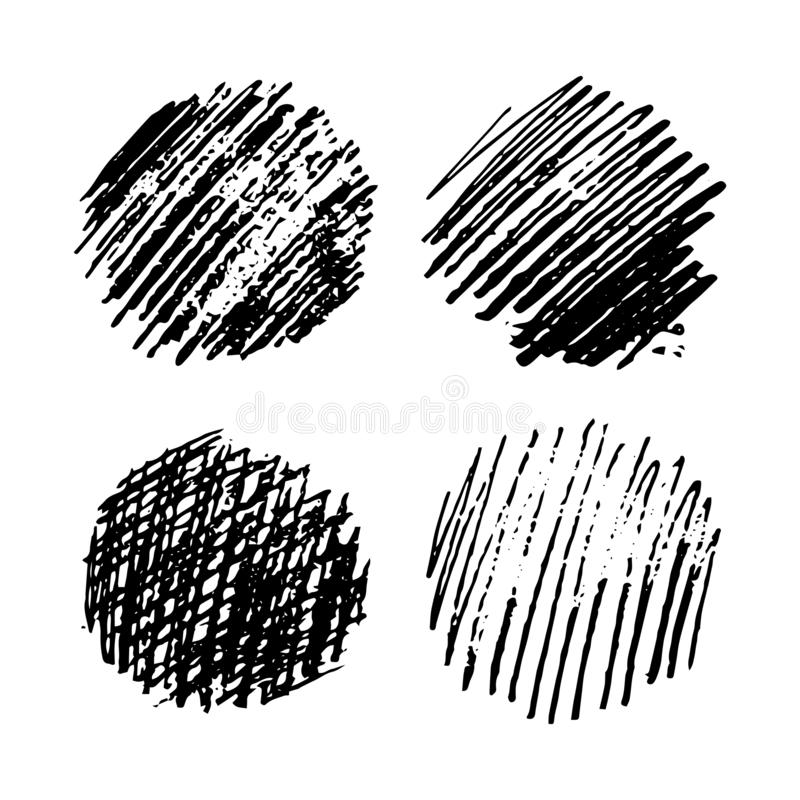 Set of four Sketch Scribble Smears. Hand drawn Pencil Scribble Stain. Vector illustration stock illustration