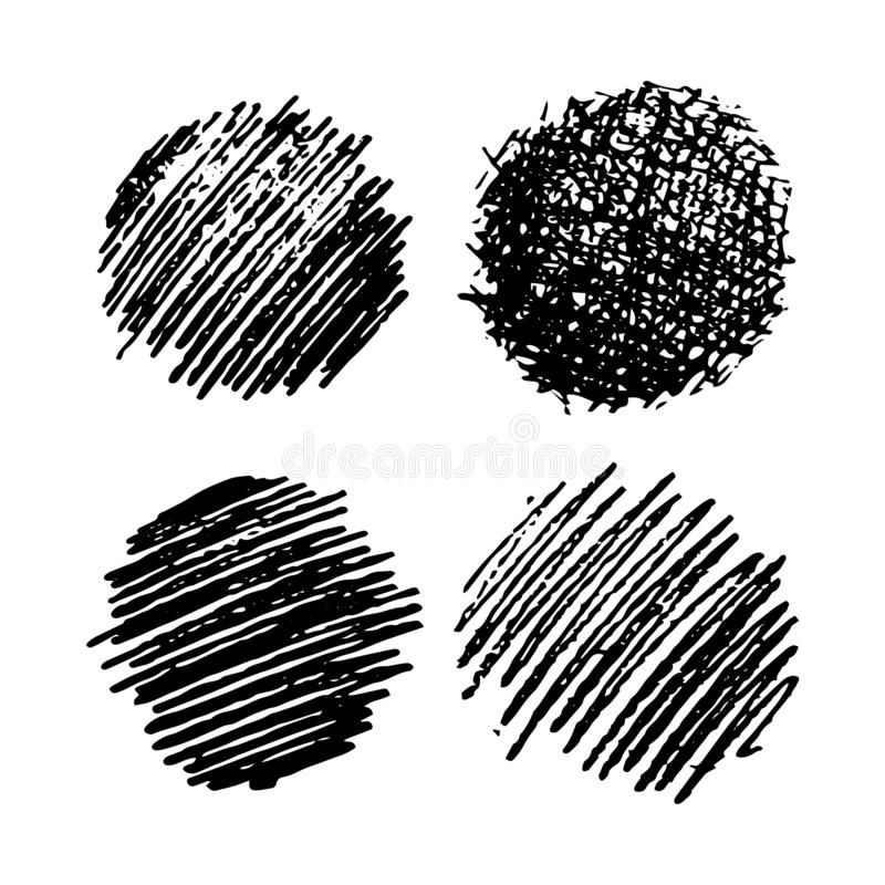 Set of four Sketch Scribble Smears. Hand drawn Pencil Scribble Stain. Vector illustration vector illustration
