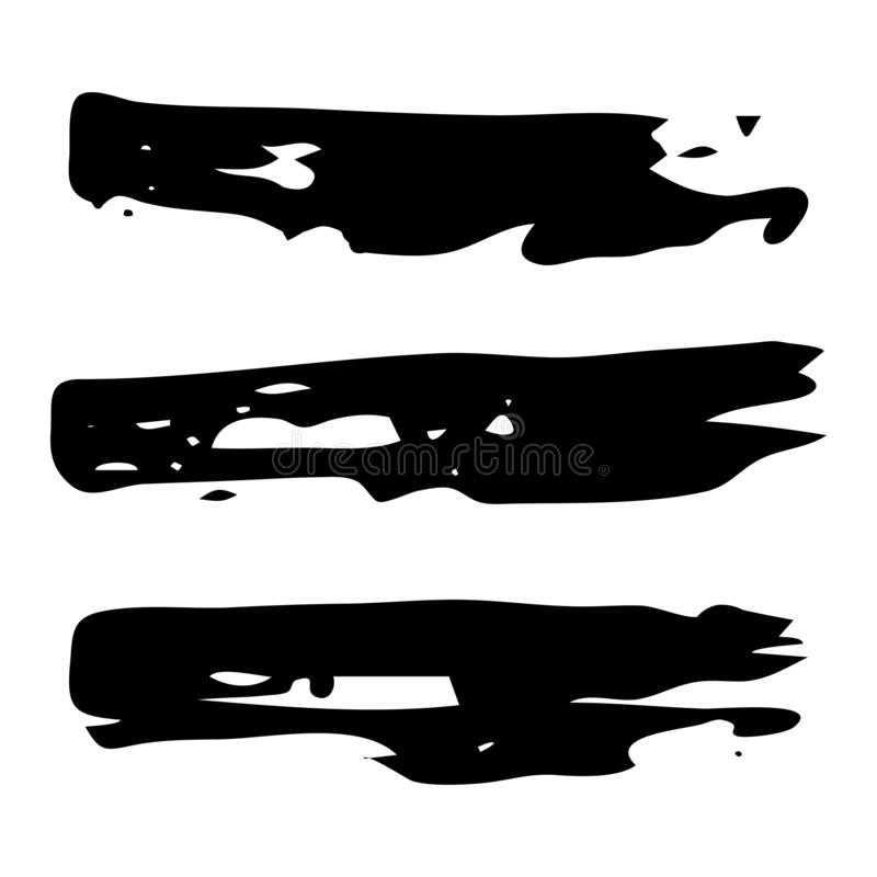 Hand drawn Paint Scribble Stains. Set of three Sketch Scribble Smears. Hand drawn Paint Scribble Stains. Vector illustration royalty free illustration