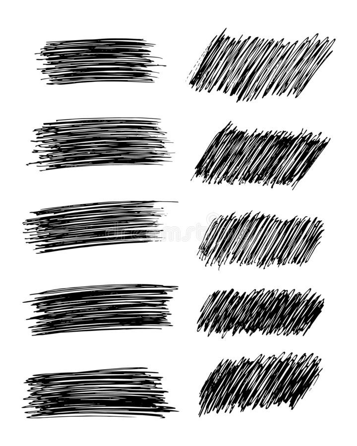 Set of ten Hand drawn Pencil Scribble Stains. Sketch Scribble Smear. Set of ten Hand drawn Pencil Scribble Stains. Distressed Grunge Paint Roller. Vector royalty free illustration