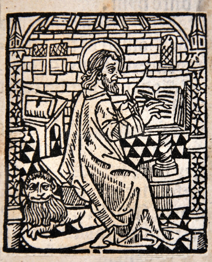 Scribe at work. Illustration of a scribe from a Title Page in William Tyndale's 1538 edition of the English New Testament, which showed the English text and