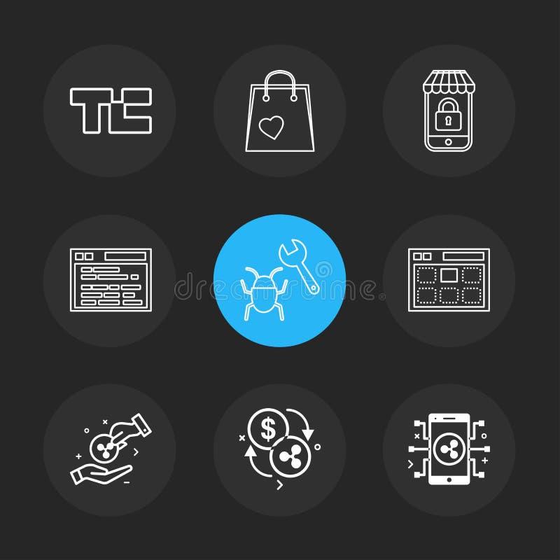 Scricchiolio di tecnologia, sacchetto della spesa, lockes, sito Web, insetto, web, soldi, monete, valuta cripto e cripto, valuta, royalty illustrazione gratis
