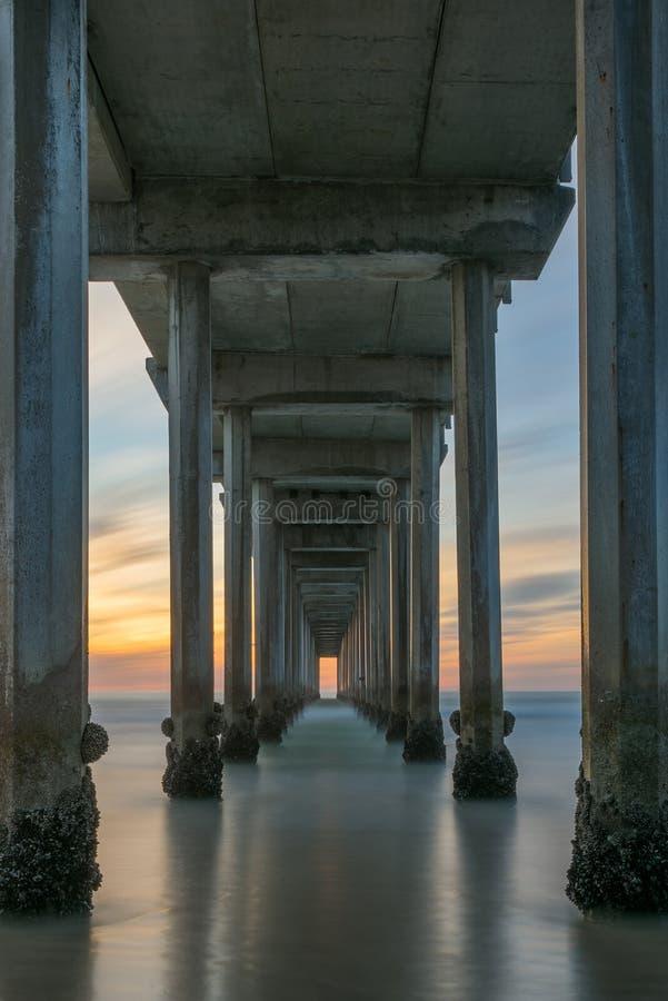 Scripps för solnedgång från under pir i La Jolla Kalifornien royaltyfria foton