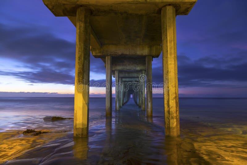 Scripps Pier La Jolla Shores e cielo drammatico San Diego California di tramonto fotografia stock libera da diritti