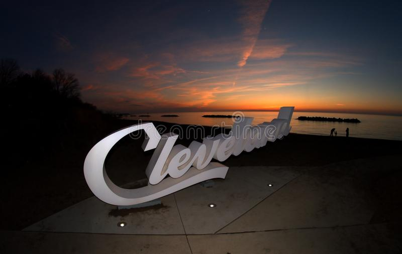 Script Cleveland sign overlooking Lake Erie at the Euclid Creek branch stock images