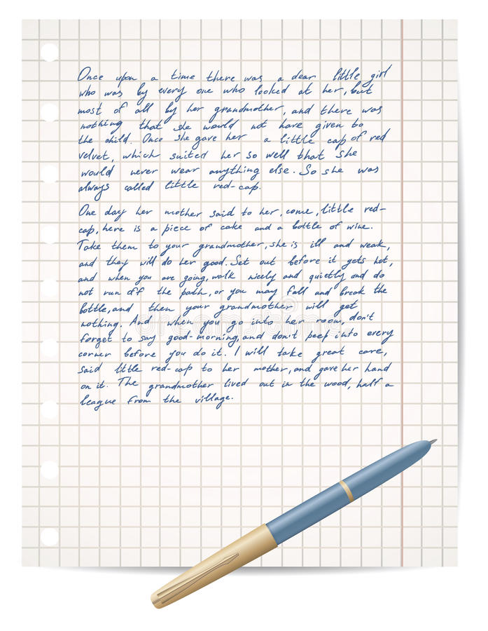 Download Script On Copybook Paper And Pen Stock Vector - Image: 20464060
