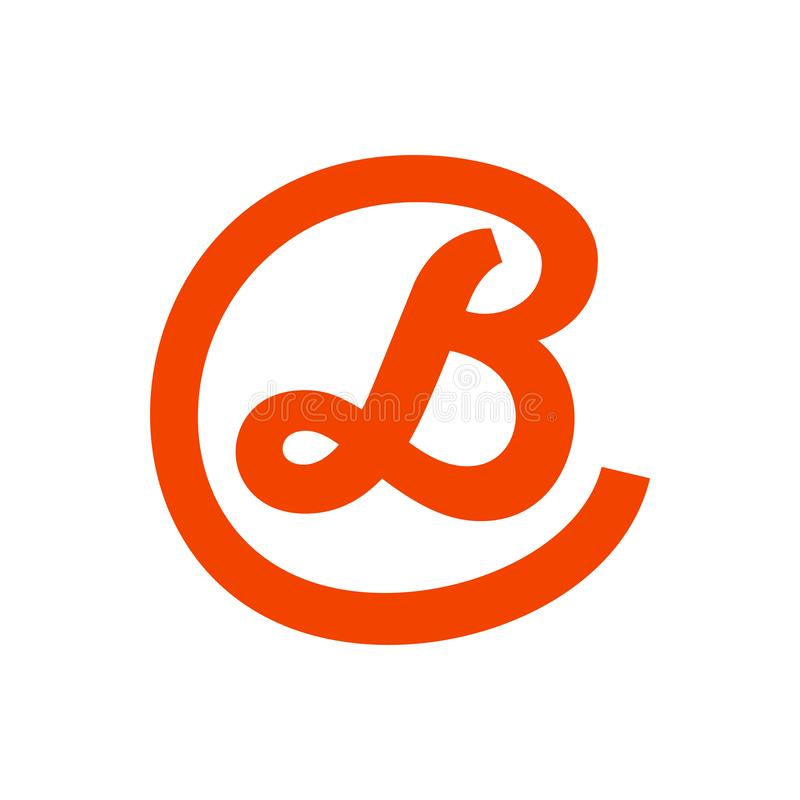 Script Initial B Lettermark in Circle Icon Design royalty free stock image