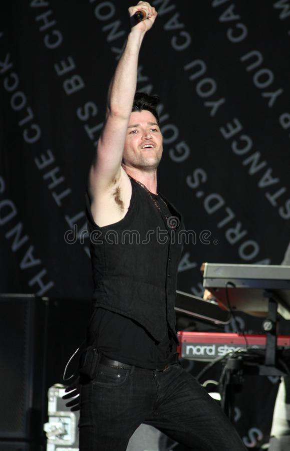 The Script Performs in Concert. Danny O`Donoghue with The Script performs in concert at the Cruzan Amphitheatre in West Palm Beach, Florida on August 17, 2014 stock images