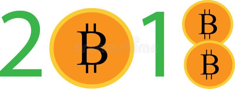 2018 scritto con i bitcoins fotografia stock libera da diritti