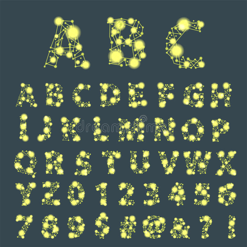 Scritto di carattere di alfabeto dello spazio della fonte con l'illustrazione grafica moderna tipografica di vettore di progettaz illustrazione di stock